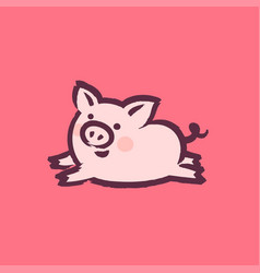 chinese new year 2019 greeting card with cute pig vector image