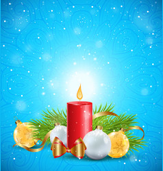 christmas greeting card with red candle vector image