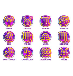 circles purple astrology signs 12 zodiac vector image