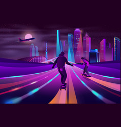 city extreme sports neon cartoon concept vector image