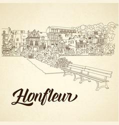 city sketching on vintage background honfleur vector image