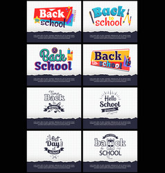 collection of school-related cartoon stickers vector image