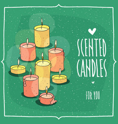 Composition with burning scented candles vector