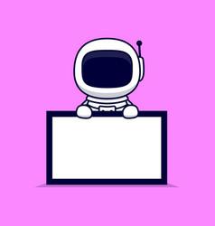 Cute astronaut holding blank text board cartoon vector