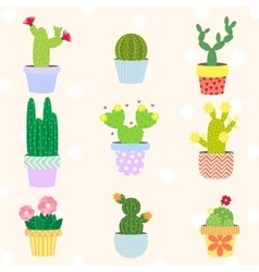 Cute cactus set in flower pot vector