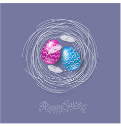 easter eggs feathers nest lettering vector image