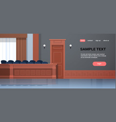 Empty jury box seats modern courtroom interior vector