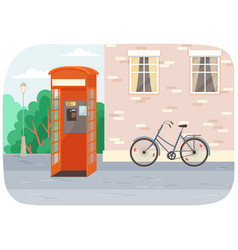 empty london red classic telephone booth with an vector image