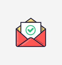 Envelope with document and round green check mark vector