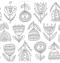 ethnic flowers tulips seamless pattern vector image