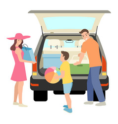 Family packing things into car trunk vector