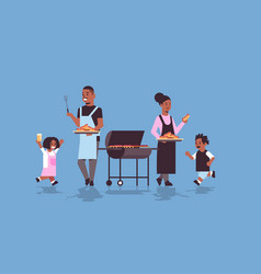 family preparing hot dogs on grill african vector image