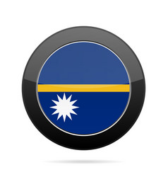 flag of nauru shiny black round button vector image