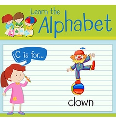 Flashcard alphabet C is for clown vector image