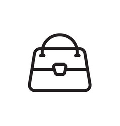 flat line woman bag icon logo element woman bag vector image
