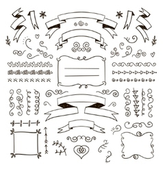 Floral decor set hand drawn doodle vector