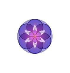Flower life symbol sacred geometry gold purple vector