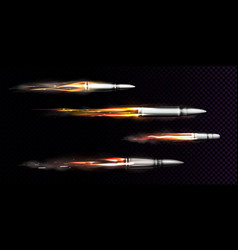 flying bullets with fire and smoke traces set vector image