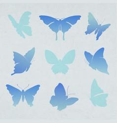 Flying butterfly sticker blue gradient flat vector