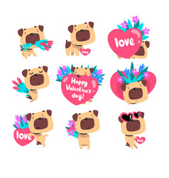 Funny pug dog with bouquetds of flowers and hearts vector