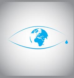 Global warming in an eye symbol vector