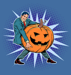 halloween pumpkin and businessman vector image