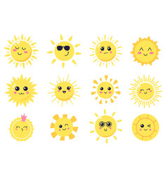 happy cartoon sun hand drawn cute smiling suns vector image