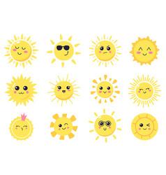 happy cartoon sun hand drawn cute smiling suns vector image