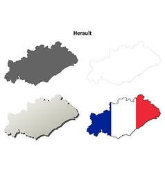 Herault languedoc-roussillon outline map set vector