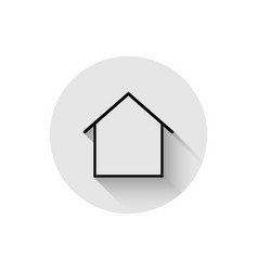 home - icon house line with shadow in flat style vector image