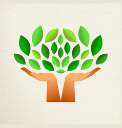 Human hand tree for green ecology concept vector