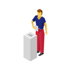 Isometric 3d man put voting paper in election box vector