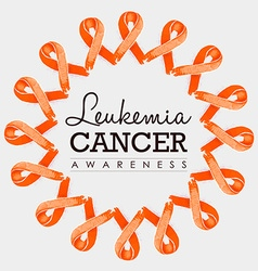 Leukemia cancer awareness ribbon design with text vector