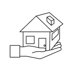 Line hand with house architecture design icon vector
