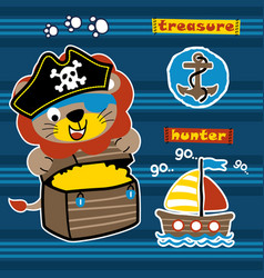 Lion pirate on striped background cartoon vector