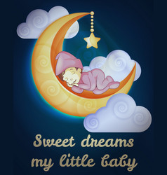 little girl sleeping on moon card vector image
