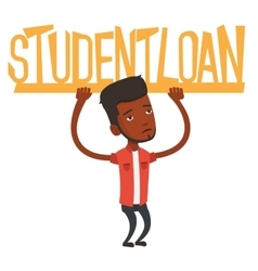 Man holding sign of student loan vector