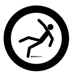 Man slip fall icon black color in circle vector
