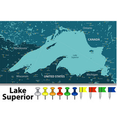 Map lake superior vector
