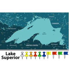 Map of lake superior vector