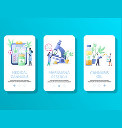 medical cannabis mobile app onboarding screens vector image