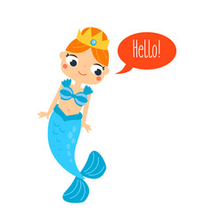 mermaid saying hello cute cartoon smiling mermaid vector image