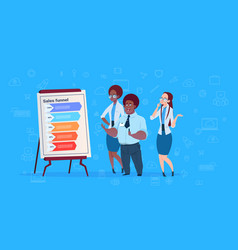 Mix race businesspeople team hold flip chart data vector
