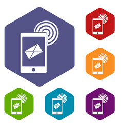 Mobile mail sign icons set hexagon vector