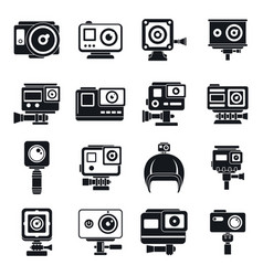 Modern action camera icons set simple style vector