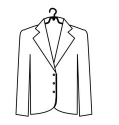 Monochrome contour of the male formal jacket in vector