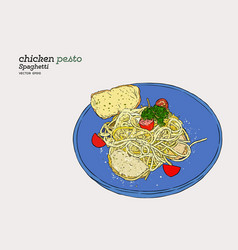 pesto spaghetti hand draw sketch vector image