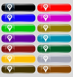 Plus map pointer gps location icon sign set from vector