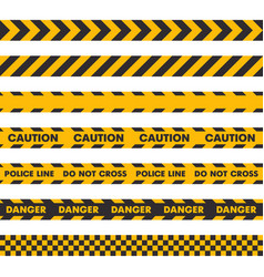 Police crime scene barrier tape seamless set on vector