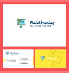 presentation chart logo design with tagline vector image